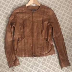 Vince Brown Camel Braided Leather Jacket